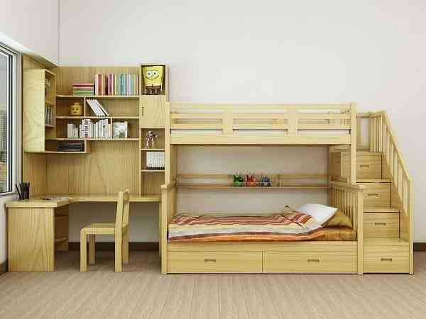 Giường tầng trẻ em gỗ tự nhiên bền đẹp - giuong tang tre em go tu nhien ben dep 1