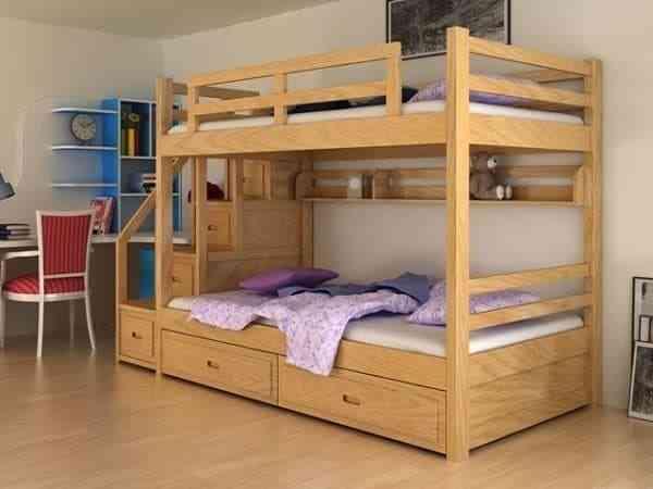 Giường tầng trẻ em gỗ tự nhiên bền đẹp - giuong tang tre em go tu nhien ben dep 2
