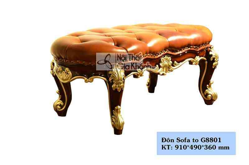 don sofa tan co dien mau nau sang trong g8801dt - Đôn sofa tân cổ điển màu nâu sang trọng DS8801G