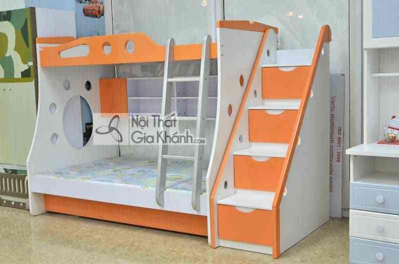 Giường 3 tầng và cầu thang rời màu cam ngộ nghĩnh cho bé H629