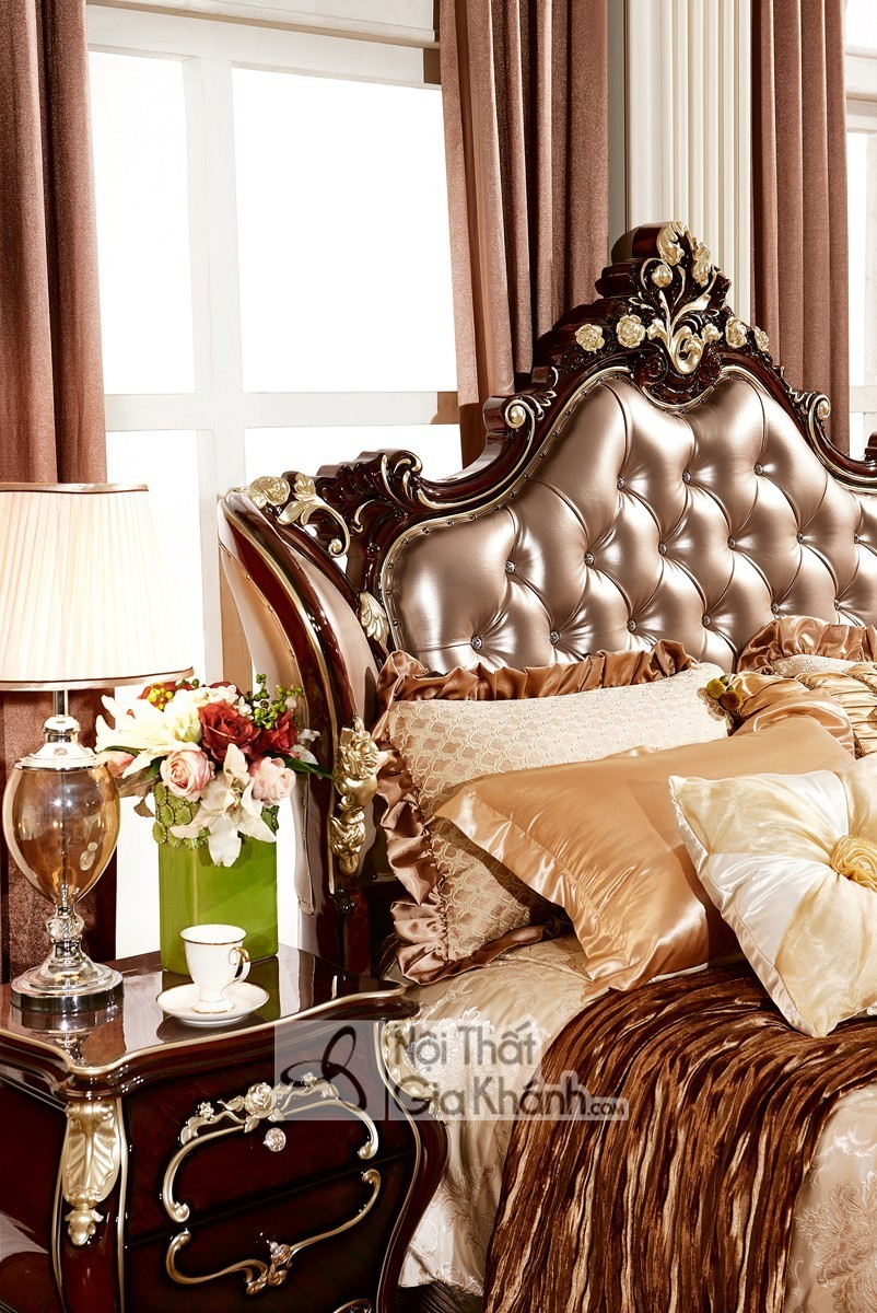 Giường Ngủ Tân Cổ Điển Màu Gỗ Nâu Gi8818G Sang Trọng