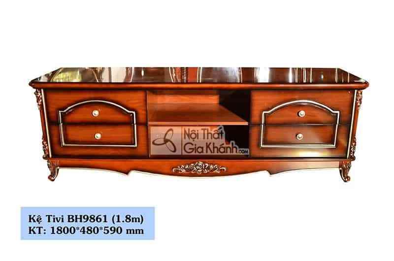Kệ ti vi 1m8 tân cổ điển màu nâu BH9861k1.8