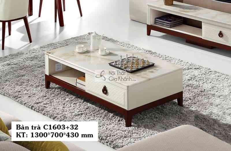 Bàn trà (Bàn Sofa) gỗ phòng khách hiện đại mặt đá C1603+32 1m3