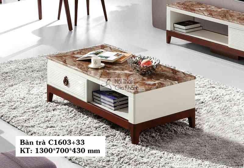 Bàn trà (Bàn Sofa) gỗ hiện đại phòng khách mặt đá C1603+33 1m3