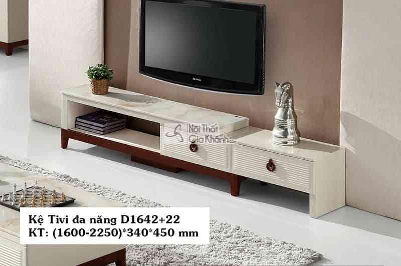 Kệ tivi đa năng hiện đại mặt đá gỗ công nghiệp màu trắng D1642+22