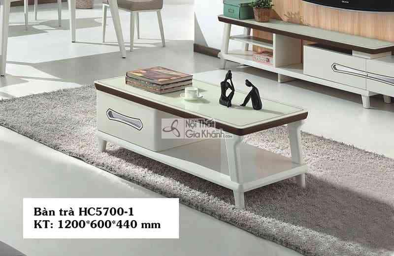 Bàn trà nhỏ gọn hiện đại mặt kính gỗ công nghiệp nhập khẩu HC5700-1