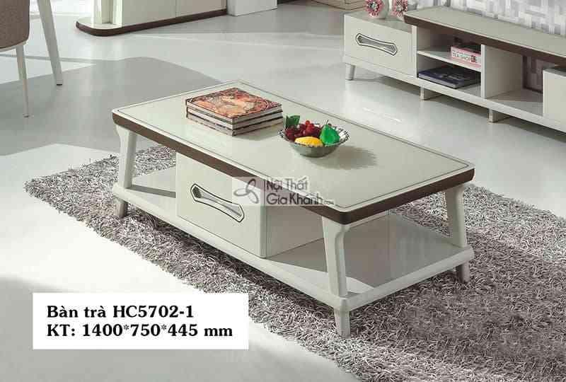 Bàn kính - Bàn trà gỗ mặt kính cường lực nhập khẩu cao cấp HC5702-1