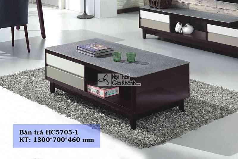 Bàn trà (Bàn Sofa) nhỏ gọn gỗ mặt kính phòng khách hiện đại HC5705-1