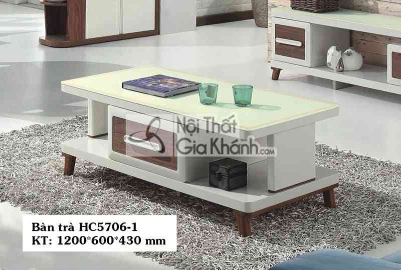 Bàn trà 1m2 mặt kính ngăn kéo màu nâu HC5706-1