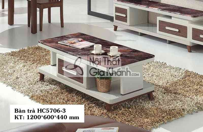 Bàn Trà 1M2 Mặt Đá Nâu Cho Phòng Khách Nhỏ Hc5706-3