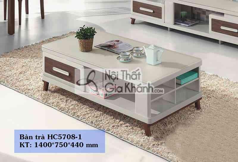 Bàn trà (Bàn Sofa) gỗ mặt kính phòng khách hiện đại nhập khẩu  HC5708-1