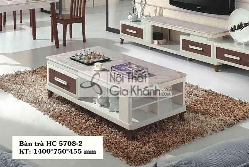 HC5708HC5708 2 - Bàn trà (Bàn Sofa) gỗ hiện đại mặt đá đơn giản màu trắng HC5708-2