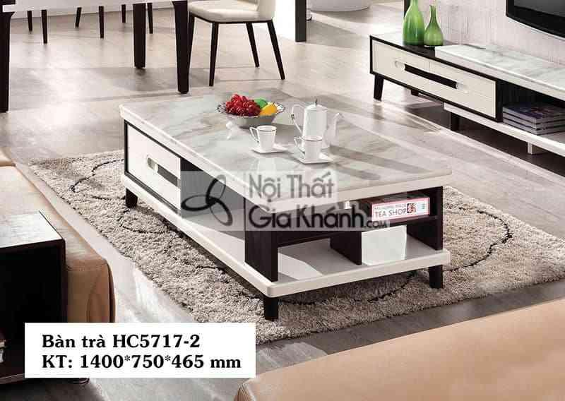 HC5717HC5717 2 - Bàn trà (Bàn Sofa) gỗ hiện đại mặt đá nhập khẩu sang trọng HC5717-2