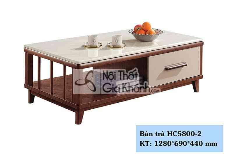 Bàn trà hiện đại 1m28 mặt đá trắng thân nâu HC5800-2