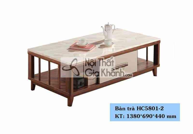Bàn Trà (Bàn Sofa) Gỗ Mặt Đá Nhập Khẩu Phòng Khách Chung Cư Hc5801-2