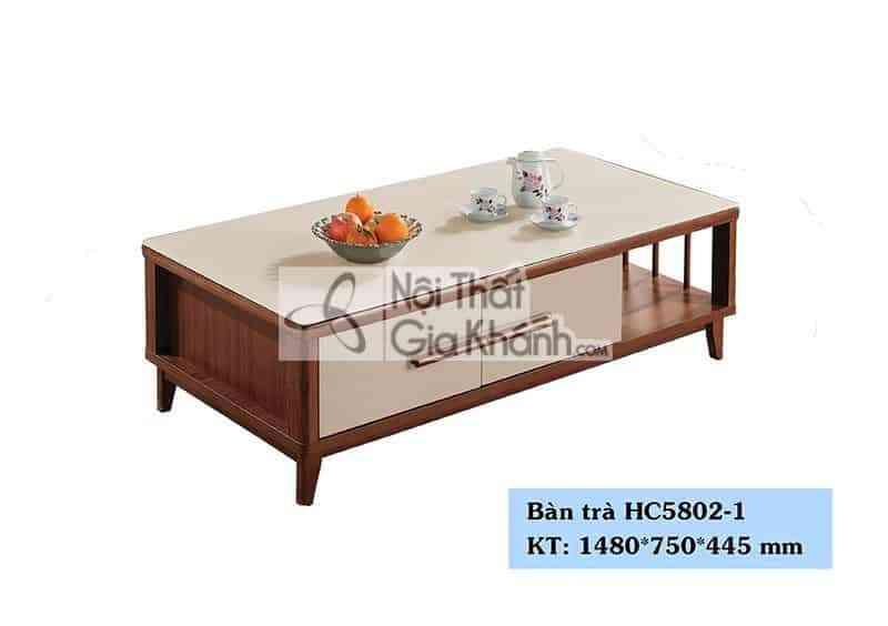 Bàn trà (Bàn Sofa) hiện đại mặt kính nhập khẩu Trung Quốc HC5802-1