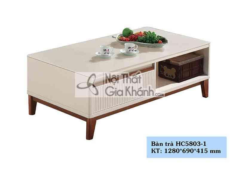 Bàn trà (Bàn Sofa) mặt kính cho phòng khách chung cư HC5803-1