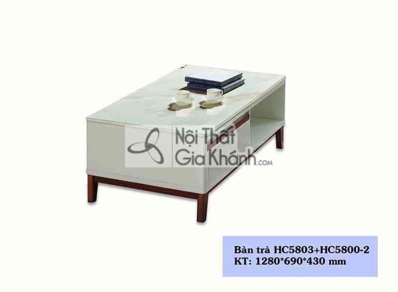 Bàn trà 1m28 mặt đá nhập khẩu cao cấp HC5803+HC5800-2