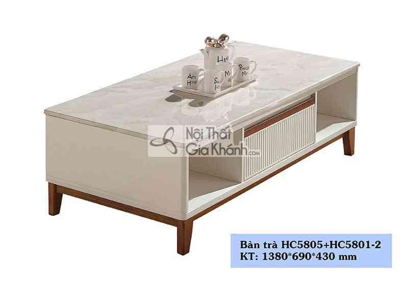 Bàn trà (Bàn sofa) hiện đại phòng khách gỗ mặt đá HC5805+5801-2