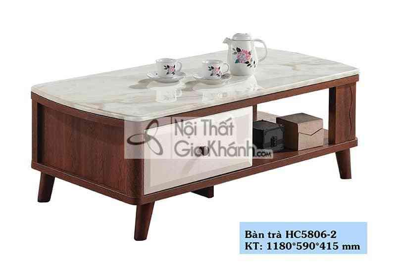 Bàn trà (Bàn Sofa) gỗ nhỏ xinh mặt đá phòng khách chung cư HC5806-2
