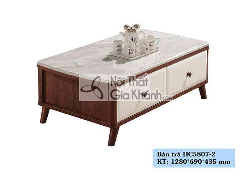 Bàn trà (Bàn Sofa) hiện đại 1m28 mặt đá nhập khẩu cao cấp HC5807-2