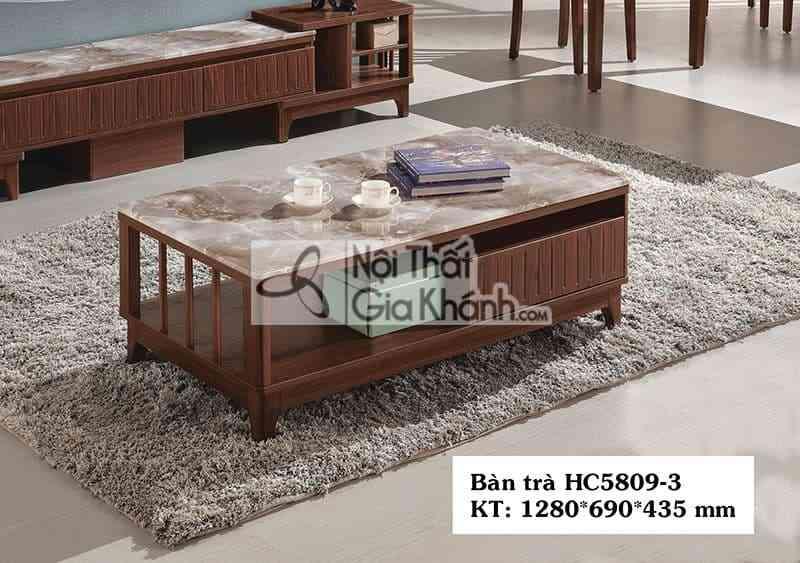 Bàn trà (Bàn Sofa) hiện đại 1m28 gỗ mặt đá cao cấp màu nâu HC5809-3