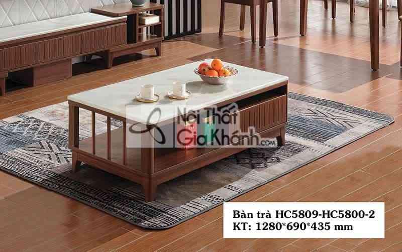 HC5809HC5800 2 - Bàn trà (Bàn Sofa) gỗ mặt đá hiện đại màu trắng HC5809+HC5800-2