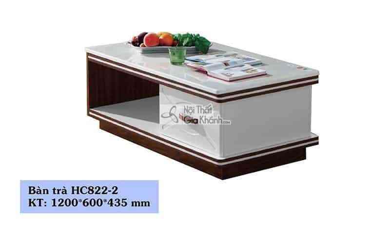 Bàn trà 1m2 mặt đá công nghiệp viền gỗ nâu HC822-2