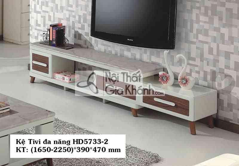 Kệ tivi đa năng gỗ công nghiệp hiện đại mặt đá màu trắng HD5733-2