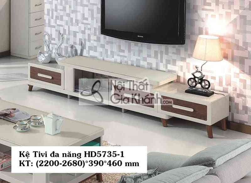 Kệ tivi đa năng hiện đại gỗ công nghiệp mặt kính nhập khẩu HD5735-1
