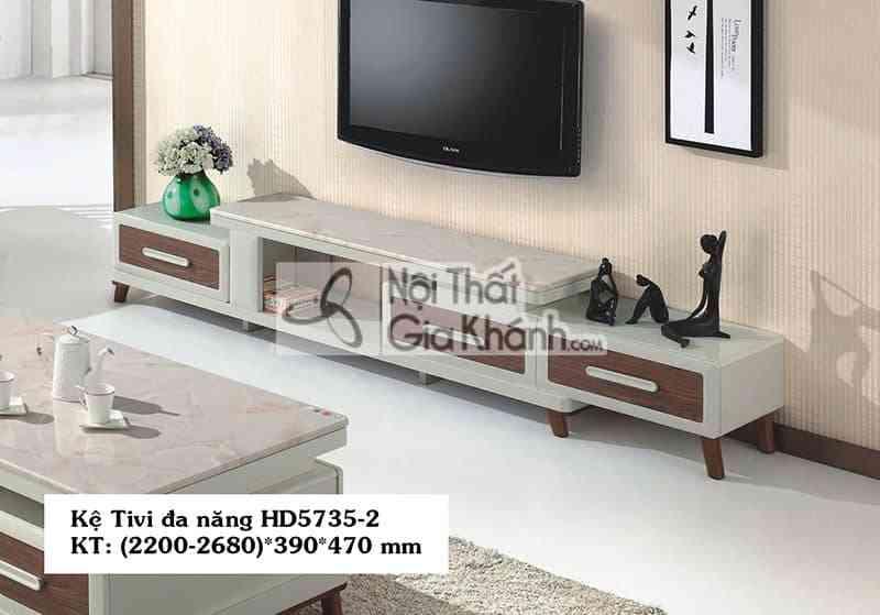 Kệ tivi đa năng phòng khách hiện đại gỗ công nghiệp mặt đá HD5735-2