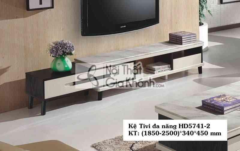 Kệ tivi đa năng hiện đại mặt đá gỗ công nghiệp màu đen trắng HD5741-2