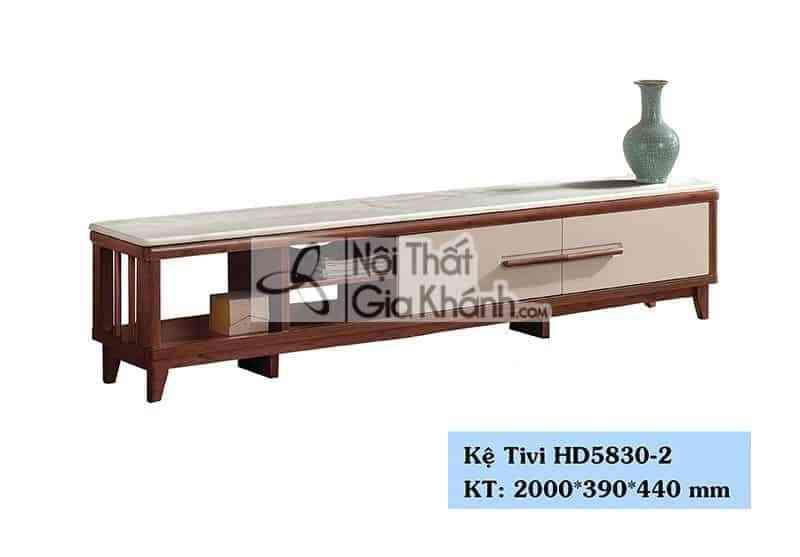 Kệ tivi phòng khách hiện đại gỗ công nghiệp mặt đá màu trắng HD5830-2