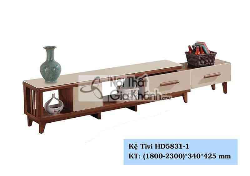 Kệ tivi gỗ công nghiệp đa năng mặt kính cường lực màu trắng HD5831-1
