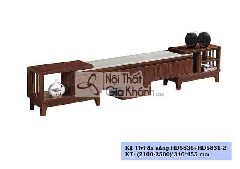 Kệ tivi gỗ công nghiệp hiện đại mặt đá màu trắng HD5836+HC5831-2