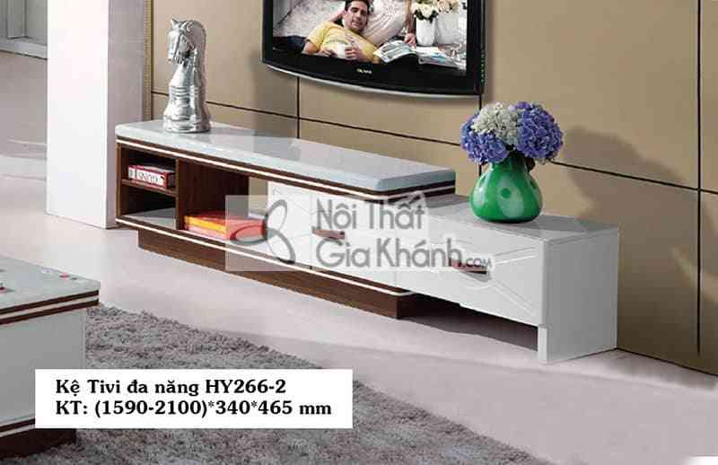 Kệ trưng bày tivi gỗ công nghiệp hiện đại mặt đá màu trắng HY266-2