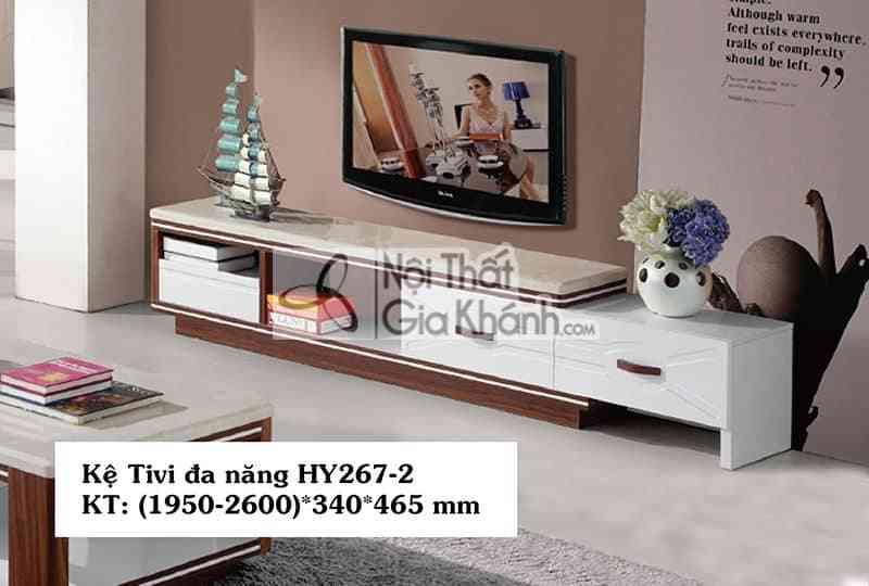 Kệ tivi phòng khách hiện đại mặt đá gỗ công nghiệp sang trọng HY267-2