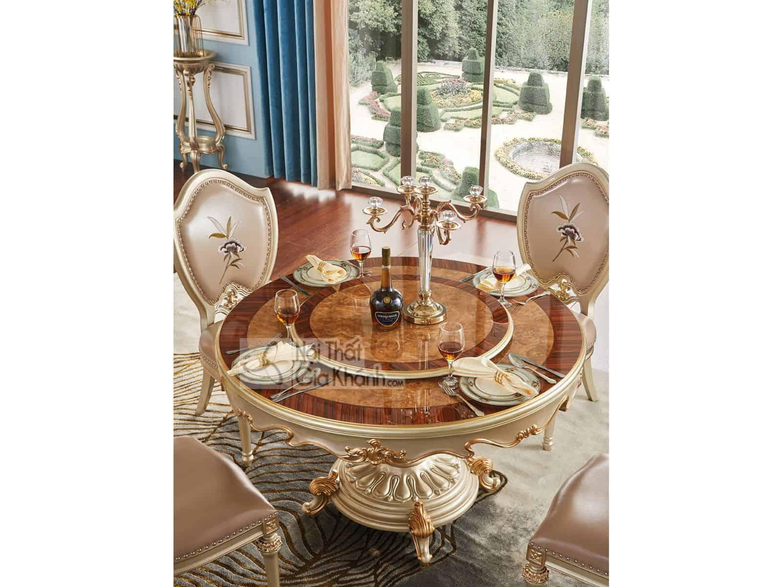 Bộ bàn ăn tròn mặt gỗ mâm xoay PA8806AG (Mẫu mới nhất)