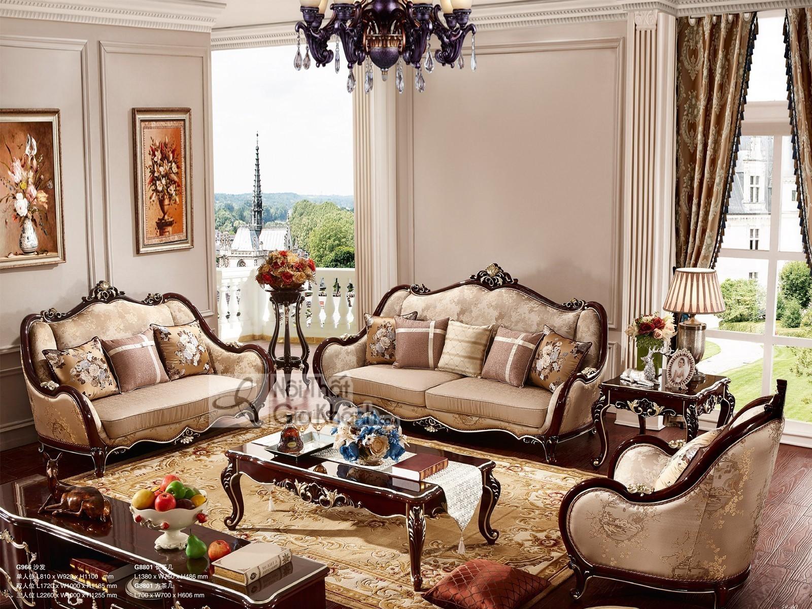 Bộ Ghế Sofa Vải Phong Cách Hoàng Gia Sb966G-123