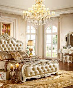 Giường Ngủ Đẹp Phong Cách Tân Cổ Điển Trắng Ngọc Trai GI8816H