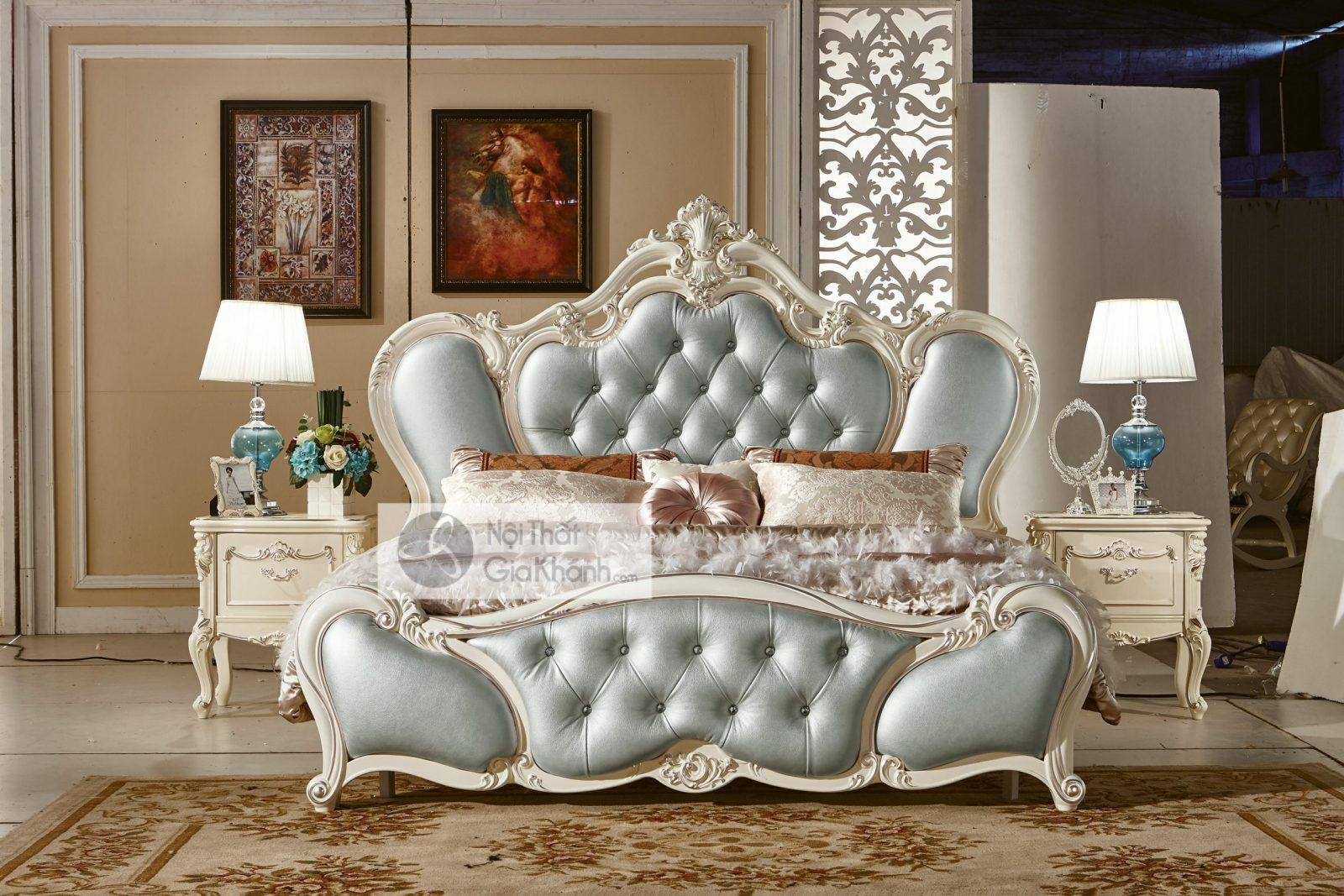 Giường Ngủ Tân Cổ Điển Trắng Ngọc Trai Nhập Khẩu Gi8809H
