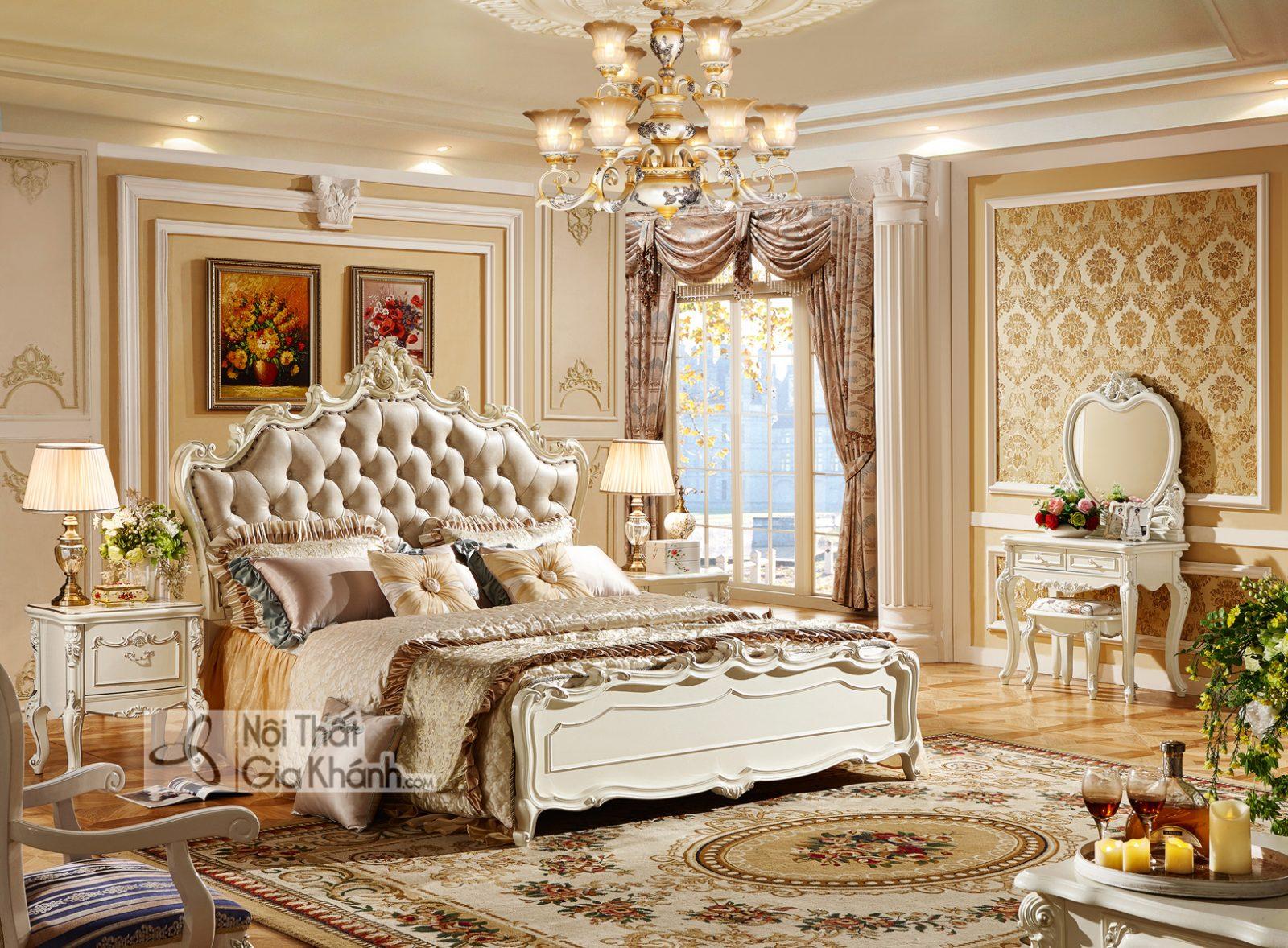 Giường ngủ Tân cổ điển màu trắng ngọc trai GI8826H Hoàng Gia Châu Âu