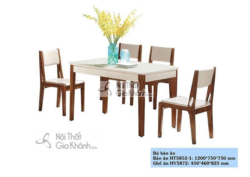 Bàn ăn gỗ mặt kính nhập khẩu cao cấp HT5852-1