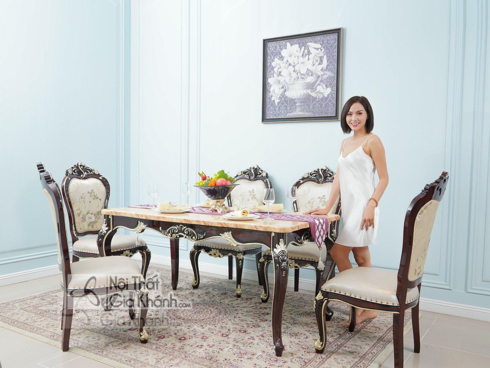Bộ bàn ăn mặt đá phong cách tân cổ điển
