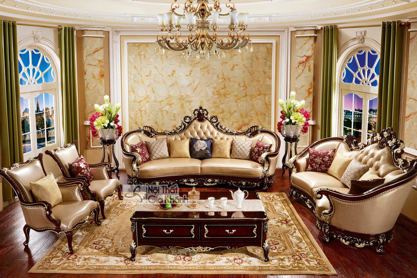 Bộ ghế sofa da nhập khẩu nguyên chiếc SB958G-1124 phong cách quí tộc