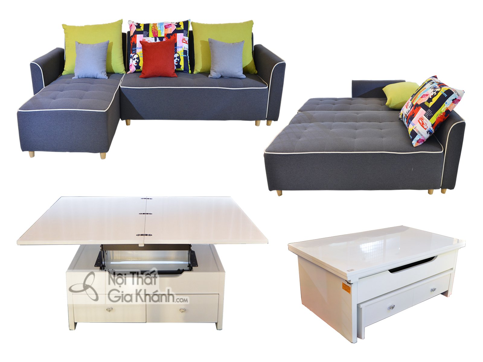 Bộ Sofa giường - Sofa bed - Bàn trà đa năng nhập khẩu SF233-801BT