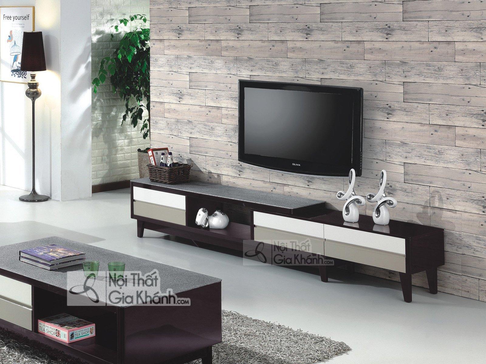 Mẫu kệ tivi bàn gỗ để tivi mới nhất mặt kính HD57321-1