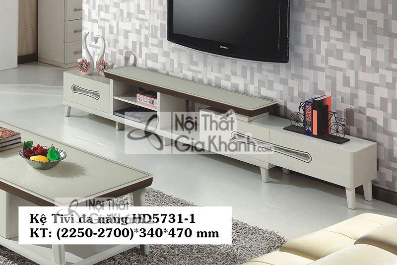 Mẫu kệ tivi bàn gỗ để tivi mới nhất 55 inch mặt kính HD5731-1