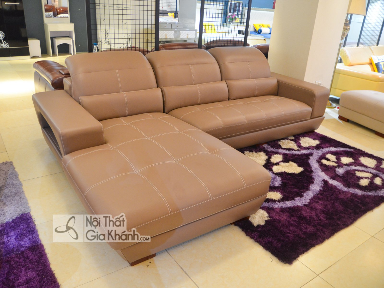 Sofa Da Mau Nau 2 Bang Goc Phai 6758N Sf