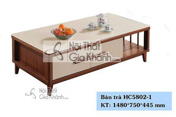 Bàn trà 1m48 mặt kính cường lực nhập khẩu trung quốc HC5802-1